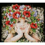 LPN-0156698 Cross stitch kit - Girl with flowers