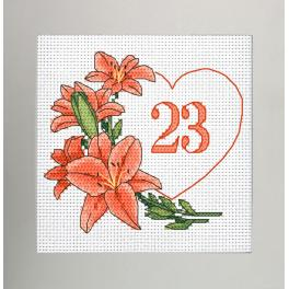 W 10342 Cross stitch pattern PDF - Birthday card - Heart with lilies