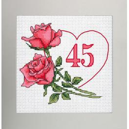 W 10341 Cross stitch pattern PDF - Birthday card - Heart with roses