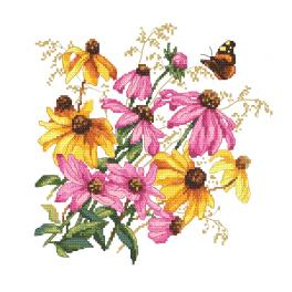 W 10471 Cross stitch pattern PDF - Colourful flowers