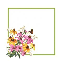 W 10469 Cross stitch pattern PDF - Napkin with flowers