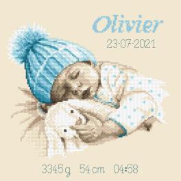 W 10337 Cross stitch pattern PDF - Birth certificate - Little boy's sweet dream