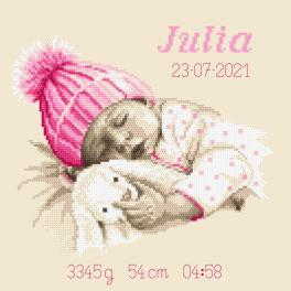 W 10338 Cross stitch pattern PDF - Birth certificate - Little girl's sweet dream
