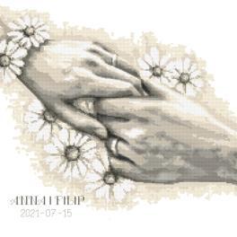 W 10467 Cross stitch pattern PDF - Wedding certificate with hands