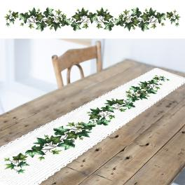 W 10680 Cross stitch pattern PDF - Long table runner with ivy