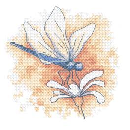 W 10466 Cross stitch pattern PDF - Pastel dragonfly