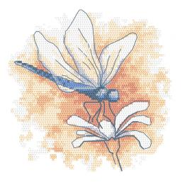 GC 10466 Printed cross stitch pattern - Pastel dragonfly