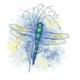 W 10470 Cross stitch pattern PDF - Sapphire dragonfly