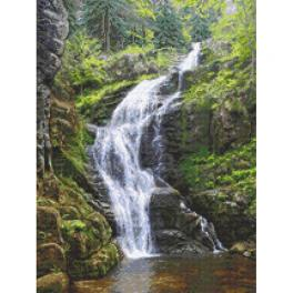 W 10682 Cross stitch pattern PDF - Mountain waterfall
