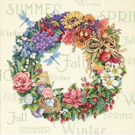 DIM 35040 Cross stitch kit - Four seasons wreath