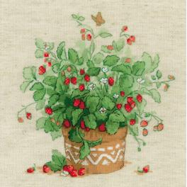 RIO 1984 Cross stitch kit with yarn - Strawberries in a pot