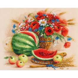 RIO 100/060 Cross stitch kit with mouline - Still life with watermelon