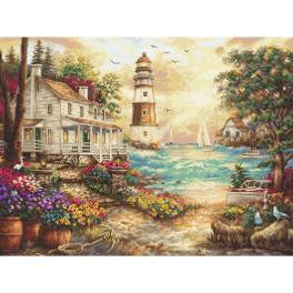 LETI 962 Cross stitch kit - Cottage by the sea