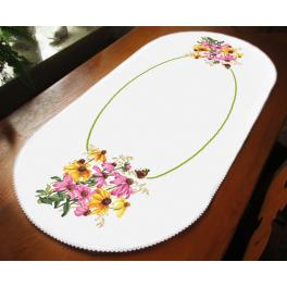 ZU 10472 Cross stitch kit - Oval table runner - Colourful flowers