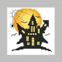 ZU 10474 Cross stitch kit - Postcard - Ghost house