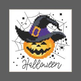 W 10473 Cross stitch pattern PDF - Postcard - Happy Halloween
