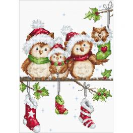 LS B1186 Cross stitch kit - Christmas owls