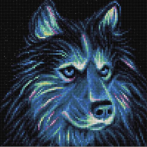 M AZ-1711 Diamond painting kit - Neon husky