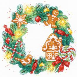 RIO 1910 Cross stitch kit with mouline - Gingerbread wreath